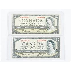 Lot (2) Bank of Canada 1954 20.00 Devil's Face 2 Signature Sets