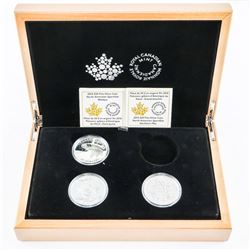 RCM North American Fisherman 3x.9999 Fine Silver $20.00 Coins in Wood Case with C.O.A.