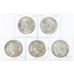 Lot (5) USA Silver Dollars. 1922, 1923-S, 1924, 1926, 1927.