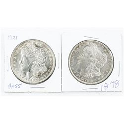Lot (2) USA Silver Dollars. 1921, 1878.