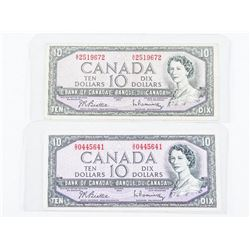 Group of (2) Bank of CANADA 1954 Modified Portrait 10.00
