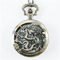 Pocket Watch with Fob Antique Style Dragon