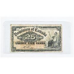 Dominion of Canada 1900 25 Cent Note. Boville.