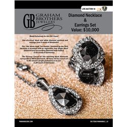 One-Of-A-Kind Black & White Diamond Necklace & Earrings from Graham Brothers Jewelers Over 9 Carats