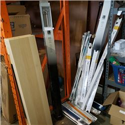 LOT OF CURTAIN RODS AND SHELVES