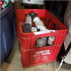 COKE CRATE OF VARIOUS SPRAY PAINTS