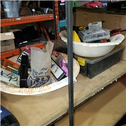 LOT OF SHOP SUPPLIES, TOOLS, STANLEY ORGANIZER, CLAMPS, ETC
