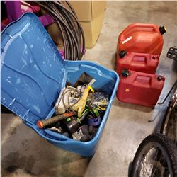 BLUE TOTE OF VARIOUS HAND TOOLS, DRILLS, ELECTRIC TOOLS AND JERRY CANS