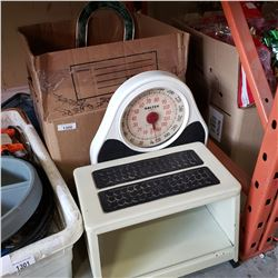 BOX OF CLOCKS, SCALE, OIL LAMP, POTTERY VASES, AND METAL STEP