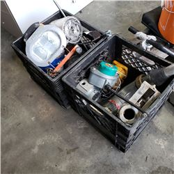2 CRATES OF FUEL NOZZLES, SHOP LIGHT, AND CHAIN