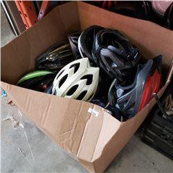 BOX OF BIKE HELMETS