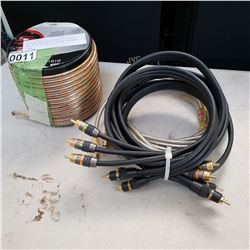 AS NEW MONSTER STEREO CABLES AND NEW 50 FT 16 GAUGE SPEAKER WIRE