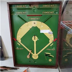 ANTIQUE TIN LITHO/WOOD BASEBALL GAME BOARD