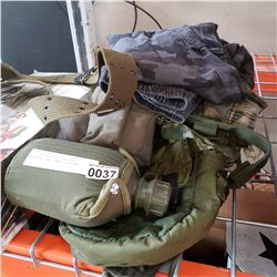 LOT OF MILITARY CANTEENS, WEBBING, AND CAMO CLOTHING