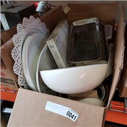BOX OF WHITE DISHES, KITCHEN ITEMS, AND SCALE