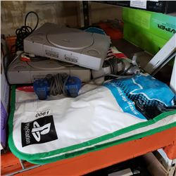 2 PS1 CONSOLES, CONTROLLERS, AND DANCE MAT