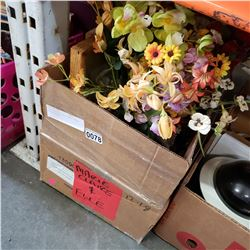 BOX OF ARTIFICIAL FLOWER DECOR AND PICTURES
