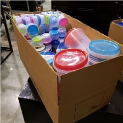 BOX OF NEW CIRCLE STORAGE CONTAINERS