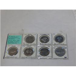 7 CANADIAN CENTENNIAL $1 COINS PLUS 1968 1ST YEAR NEW DOLLAR