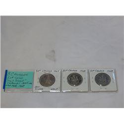 3 CANADIAN 50c COINS 1967 CENTENNIAL WOLF .800 SILVER PLUS 1968/9