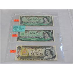 LAST 3 ISSUES CNADIAN $1 1954, 67, 73