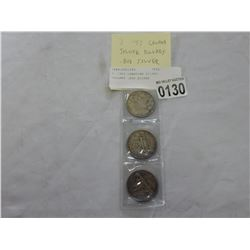 3 1953 CANADIAN SILVER DOLLARS .800 SILVER