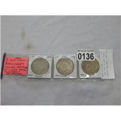 3 USA 1922 SILVER PEACE LIBERTY DOLLARS .900 SILVER