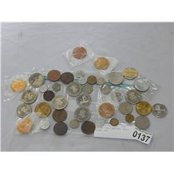 LOT OF TRADE DOLLARS, WORLD COINS, ETC