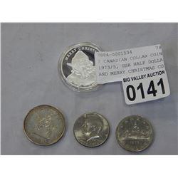2 CANADIAN COLLAR COINS 1973/5, USA HALF DOLLAR 1967, AND MERRY CHRISTMAS COIN