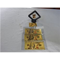 GOLD PLATED BAR AND 3 FOIL BILLS