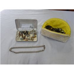 WHITE BAG AND CASE OF JEWELLERY