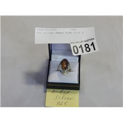 925 SILVER AMBER RING SIZE 8