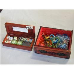 2 BOXES W/ EASTERN JADE DICE ETC
