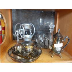 ESTATE WINE SET, SILVER TEA SET, AND CAROUSEL SERVING DISH