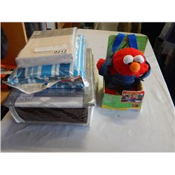 LOT OF SHEETS AND ELMO HARNESS