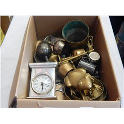BOX LOT OF BRASS AND BRONZE ITEMS AND METAL CLOCK