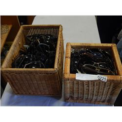 2 WICKER BASKETS OF VARIOUS SUNGLASSES