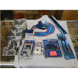 CANUCK COLLECTION, FLAG, PENCILS, EARRINGS, ZAMBONI WITH LUONGO, JERSEY PLUS 10 CANUCK TEAM SETS