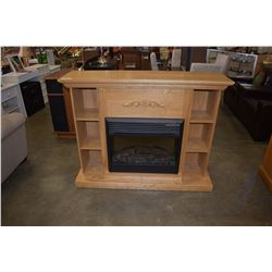 PINE FIREPLACE MANTLE AND ELECTRIC FIREPLACE