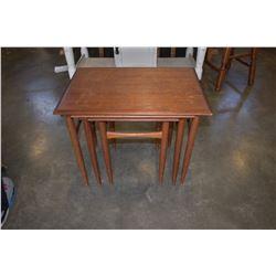 TEAK 3PC NESTING TABLE SET