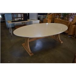 STONE TOP DINING TABLE W/ 4 CHAIRS - APPROX 8 X 4 FOOT, 2.5 FEET TALL