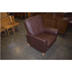 BROWN LEATHER RECLINER W/ OTTOMAN