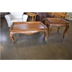 INLAID CUBE PATTERN WOOD COFFEE AND ENDTABLE