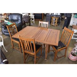 ANTIQUE OAK FLIP TOP DINING TABLE WITH 4 CHAIRS