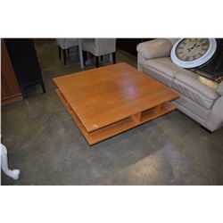 VINTAGE SQUARE LIBRARY STYLE TEAK COFFEE TABLE