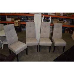 4 FABRIC UPHOLSTERED DINING CHAIRS