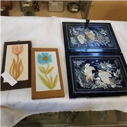 MOTHER OF PEARL INLAID DOORS AND PAINTED TILE ART