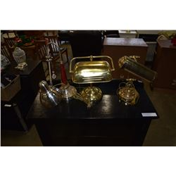 2 BRASS LAMPS AND BRUSHED METAL DECORATIVE LAMP