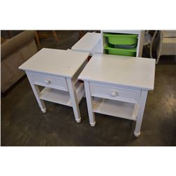 PAIR OF CAFE KID WHITE 1 DRAWER END TABLES
