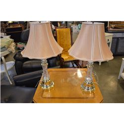 2 CRYSTAL TABLE LAMPS W/ SHADES